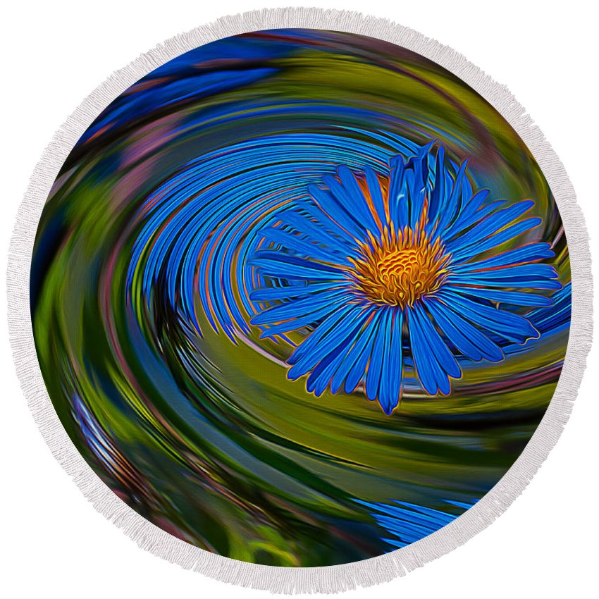 Flower Round Beach Towel featuring the photograph Blue Flower Whirlpool by Chester Wiker