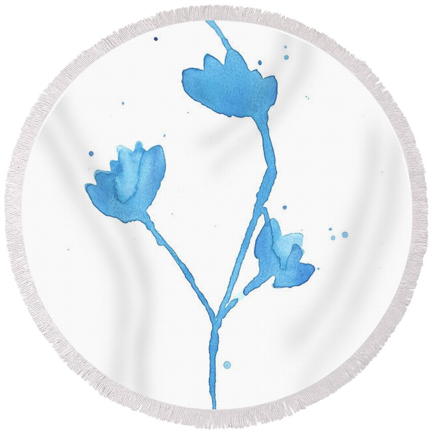 Blue Round Beach Towel featuring the painting Blue Flowers 2 by Shelby Wilson