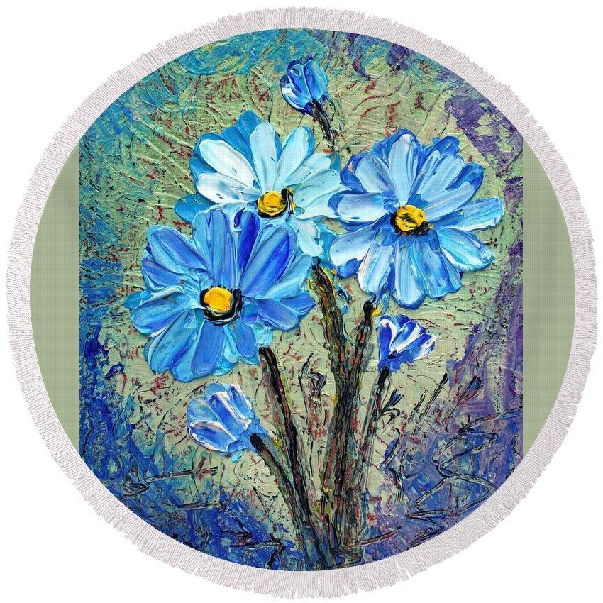 Flowers Round Beach Towel featuring the painting Blue Flowers by Luiza Vizoli