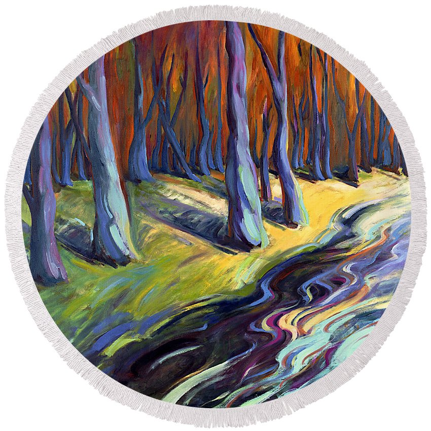 Konnie Round Beach Towel featuring the painting Blue Forest by Konnie Kim