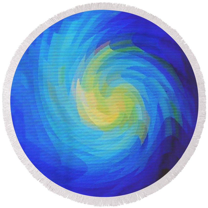 Blue Round Beach Towel featuring the digital art Blue Galaxy by Ian MacDonald