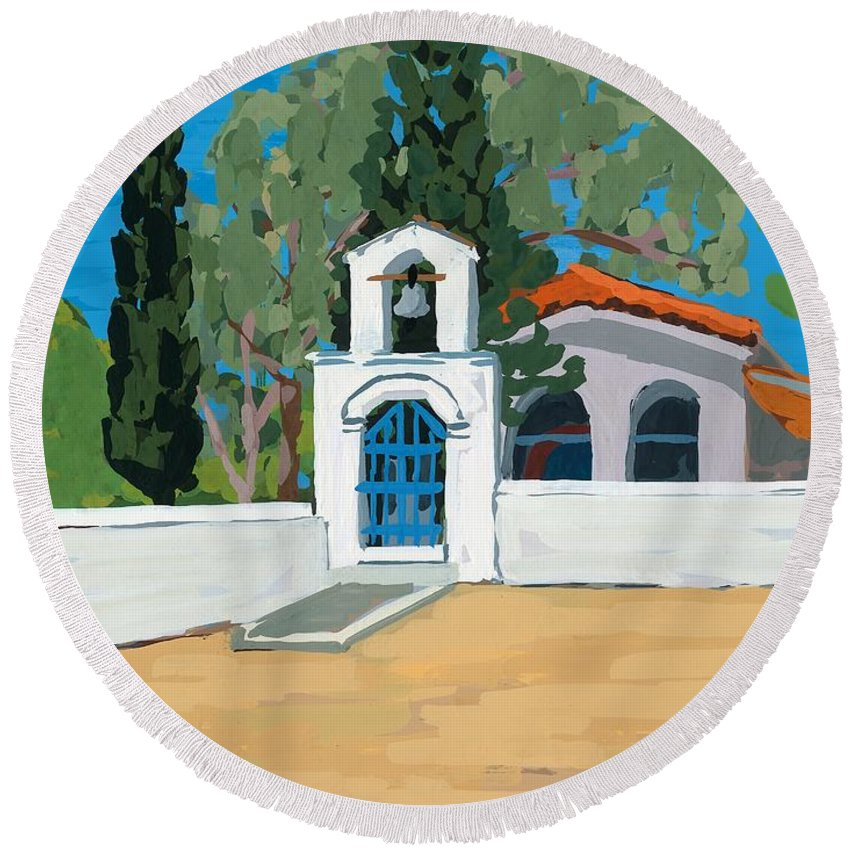 Bell Round Beach Towel featuring the painting Blue Gate by Sarah Gillard