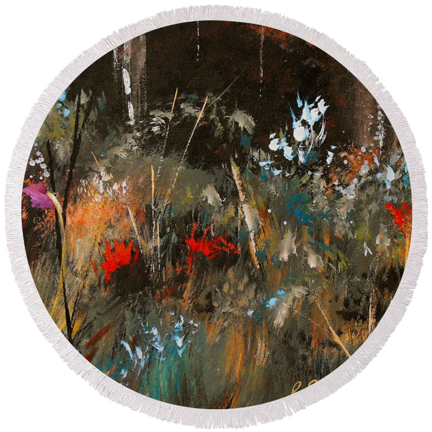 Abstract Round Beach Towel featuring the painting Blue Grass And Wild Flowers by Ruth Palmer