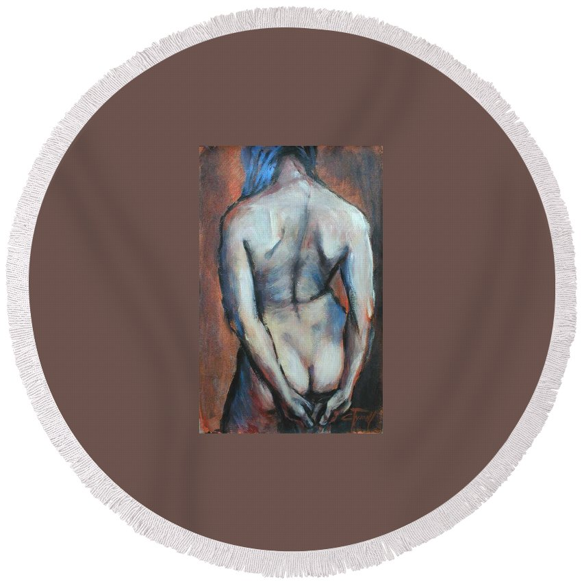 Original Painting Female Nude Drawing Acrylic Blue Hair Round Beach Towel featuring the painting Blue Hair by Carmen Tyrrell