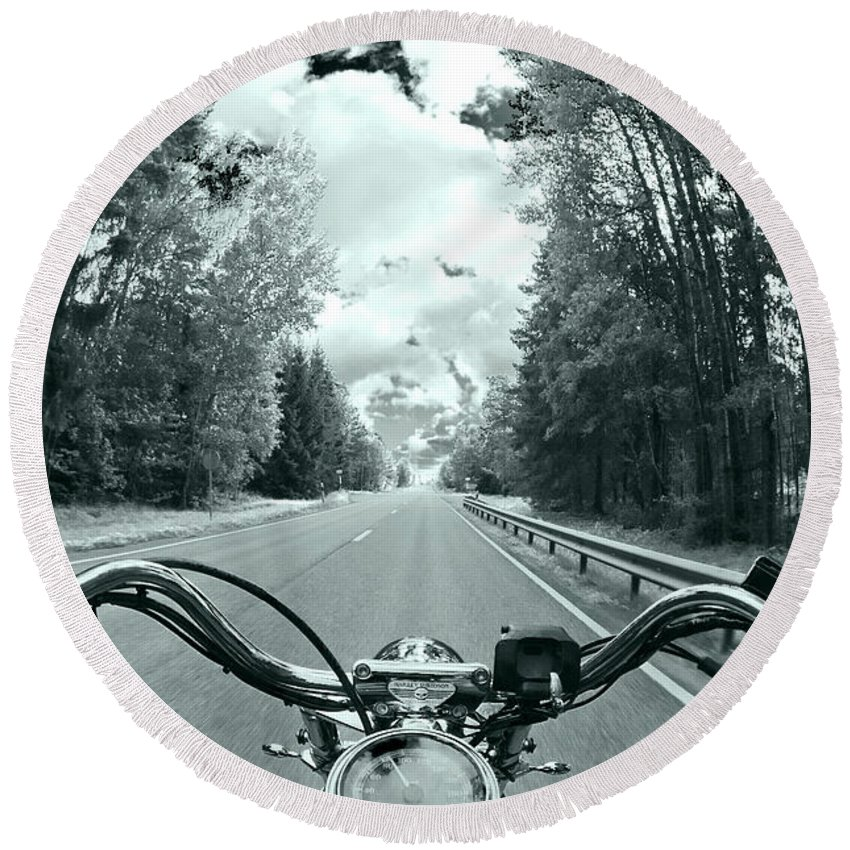 Harley Round Beach Towel featuring the photograph Blue Harley by Micah May