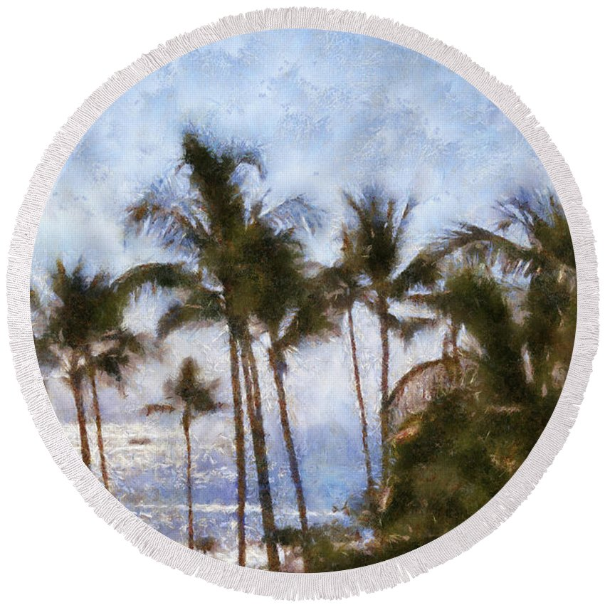 Blue Round Beach Towel featuring the painting Blue Hawaii by Paulette B Wright