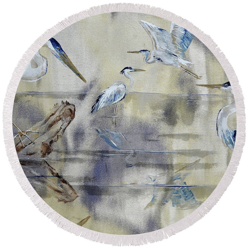 Heron Round Beach Towel featuring the painting Great Blue Herons Chilling by Paola Correa de Albury