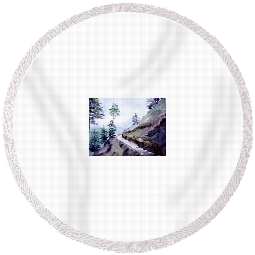 Landscape Round Beach Towel featuring the painting Blue Hills by Anil Nene