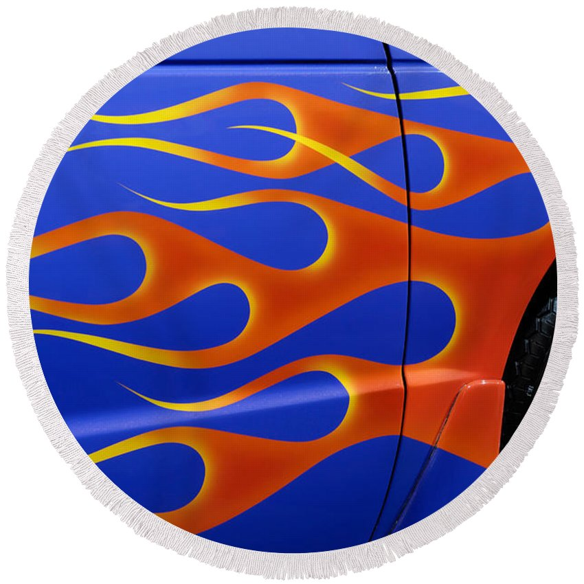 Hot Rod Round Beach Towel featuring the photograph Blue Hot Rod Closeup by Maxim Images Prints