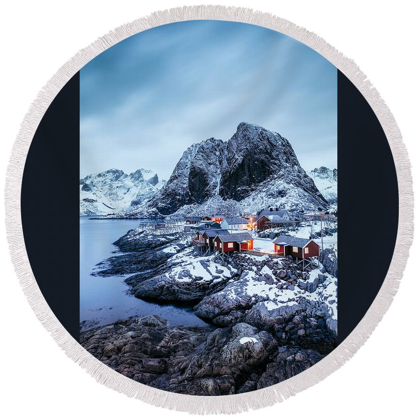 Landscape Round Beach Towel featuring the photograph Blue Hour by Mikkel Beiter