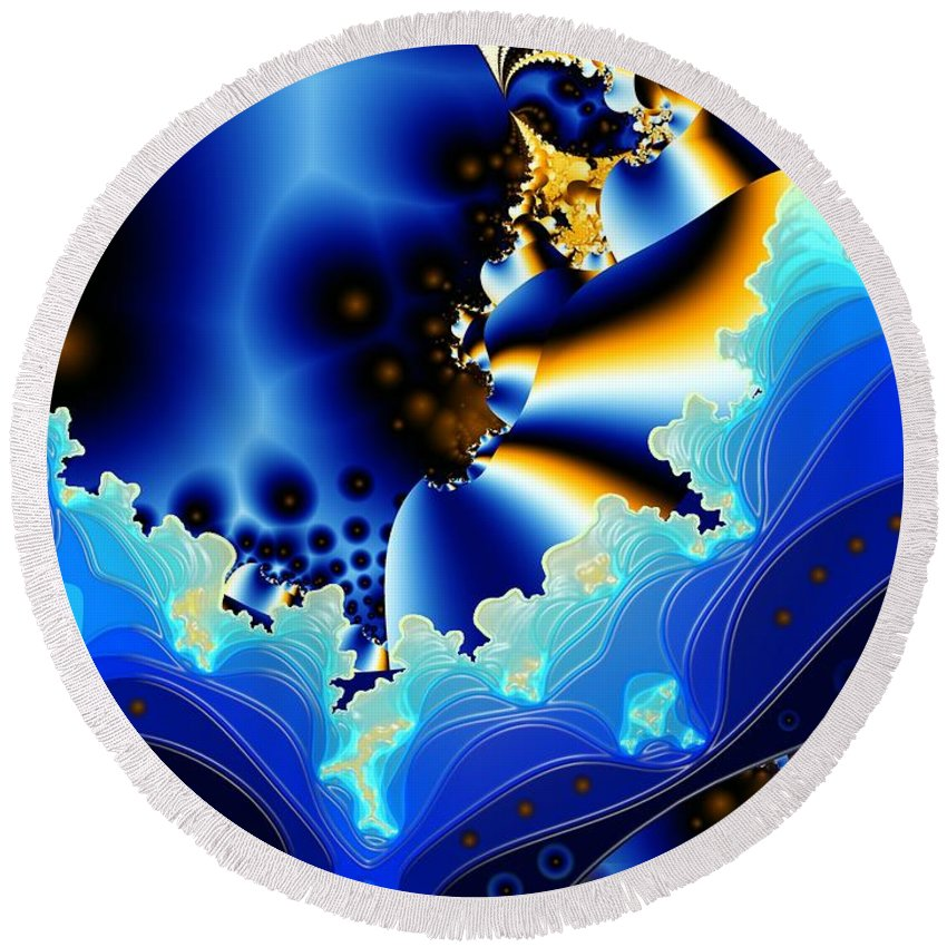 Fractal Art Round Beach Towel featuring the digital art Blue Hue by Ron Bissett