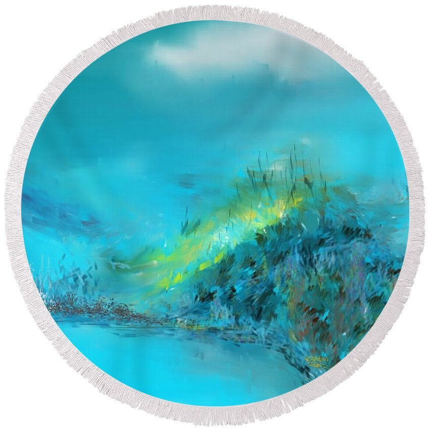 Digital Painting Round Beach Towel featuring the digital art Blue Impressions by David Lane