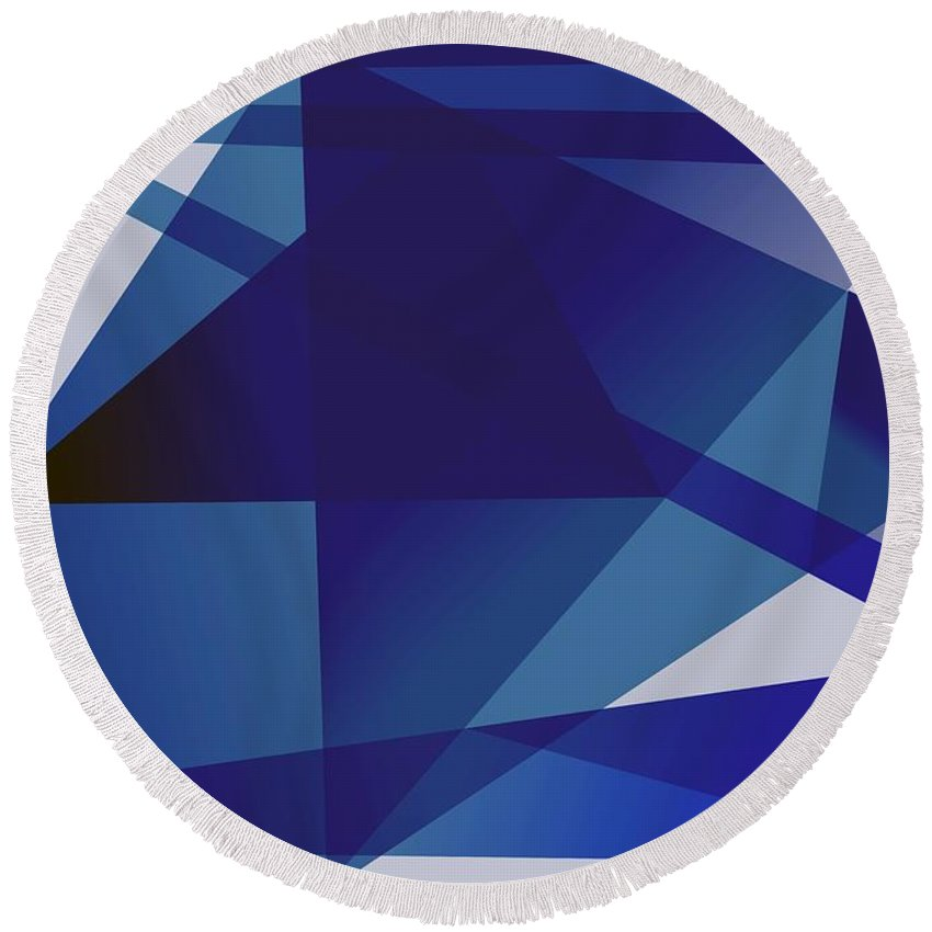 Blue Round Beach Towel featuring the digital art Blue In Blue by Helmut Rottler