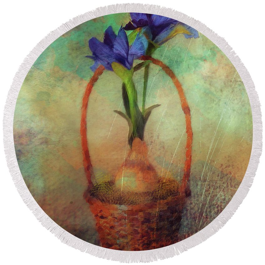Iris Round Beach Towel featuring the digital art Blue Iris In A Basket by Lois Bryan
