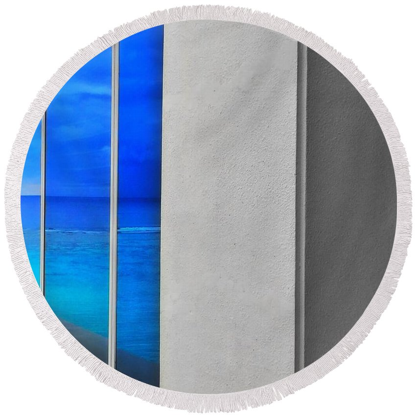 Tropical Round Beach Towel featuring the photograph Blue by Jade Phoenix