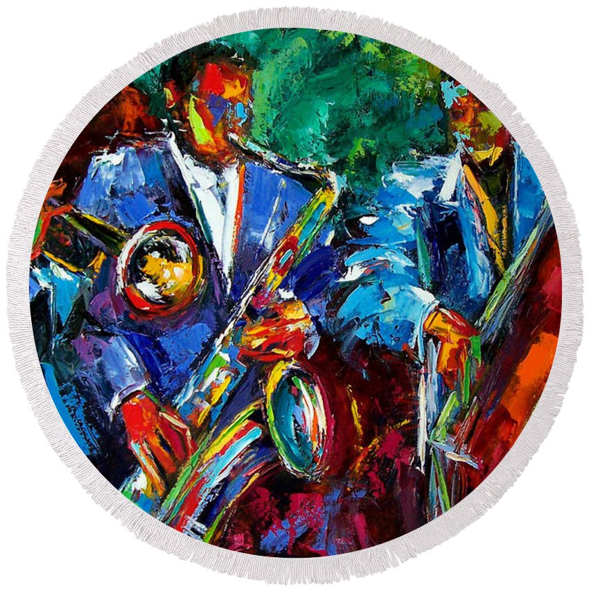 Jazz Art Round Beach Towel featuring the painting Blue Jazz by Debra Hurd