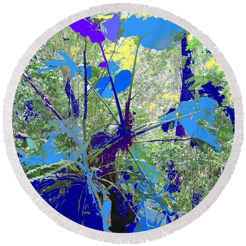 Round Beach Towel featuring the photograph Blue Jungle by Ian MacDonald