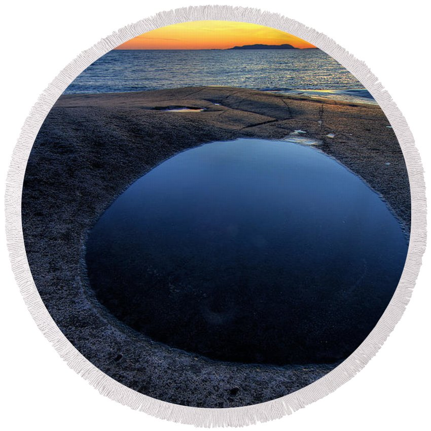 Great Lakes Round Beach Towel featuring the photograph Blue Lagoon  by Doug Gibbons