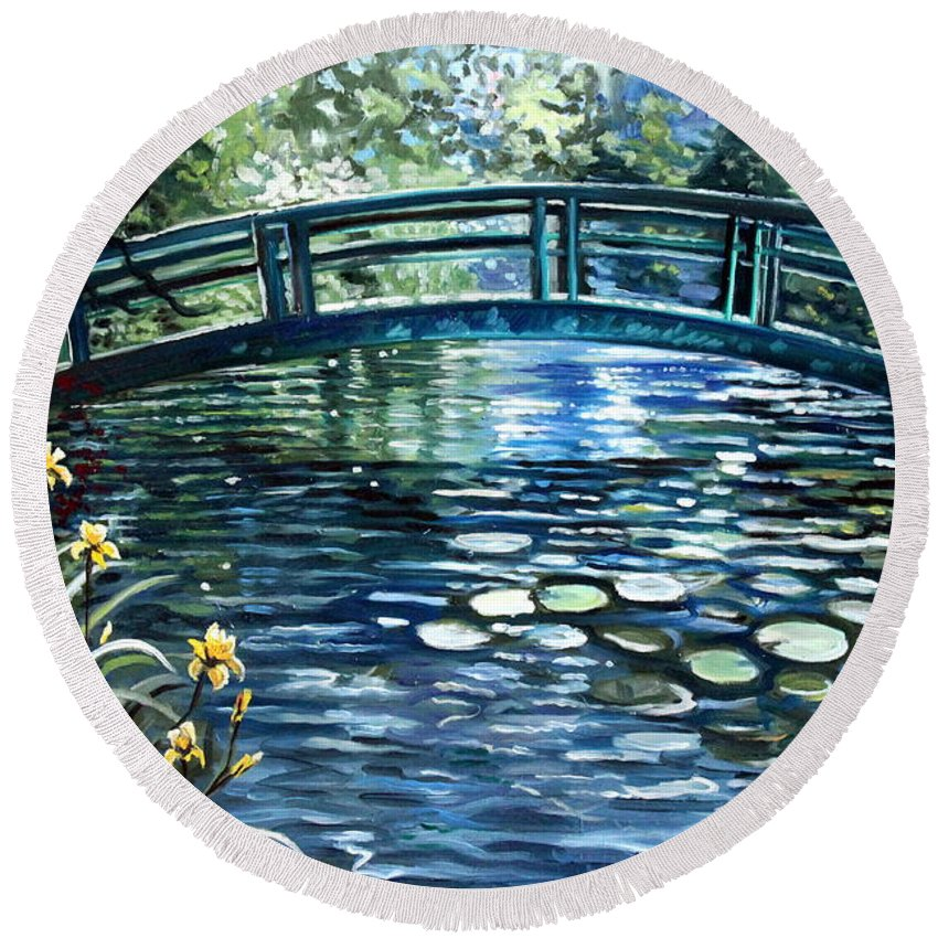 Impressionistic Round Beach Towel featuring the painting Blue Lagoon by Elizabeth Robinette Tyndall