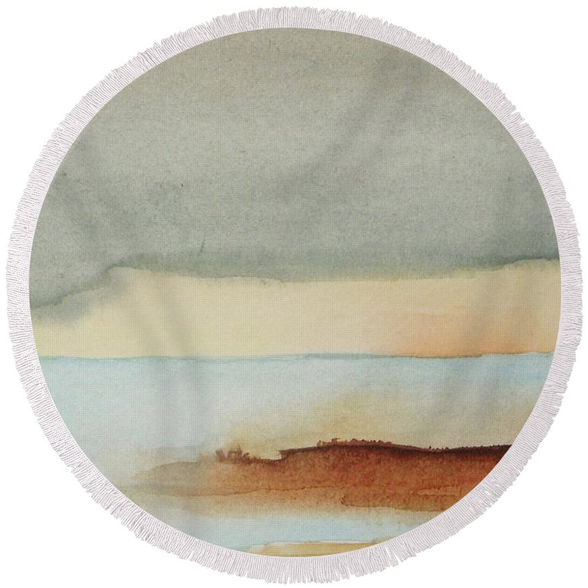 Abstract Round Beach Towel featuring the painting Blue Lagoon by Vesna Antic