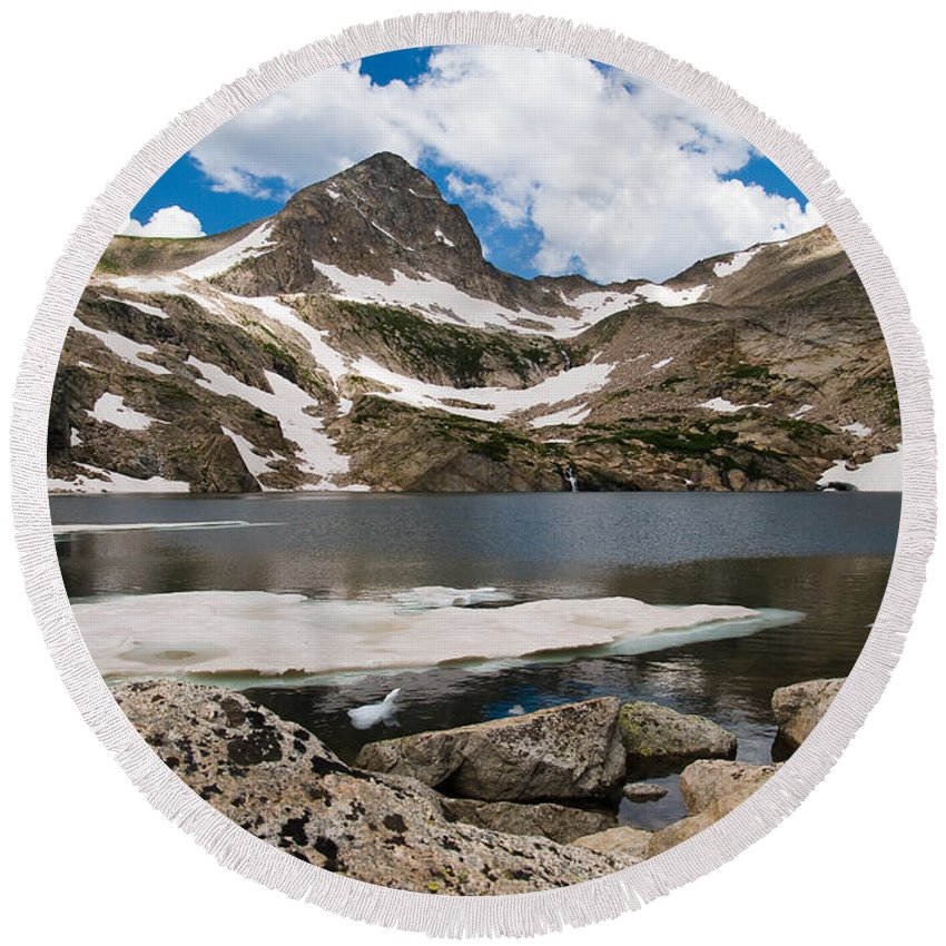 Blue Lake Colorado Round Beach Towel featuring the photograph Blue Lake Colorado by Robert VanDerWal