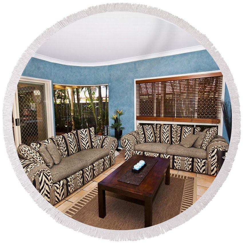 Living Round Beach Towel featuring the photograph Blue Living Room by Darren Burton