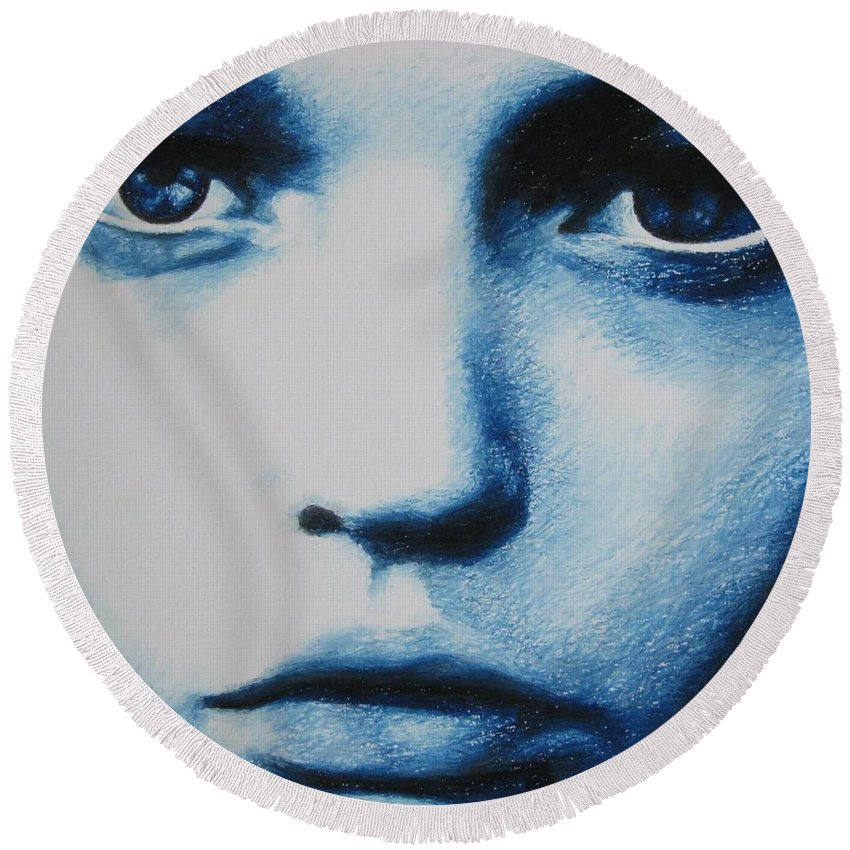 Girl Round Beach Towel featuring the painting Blue by Lynet McDonald