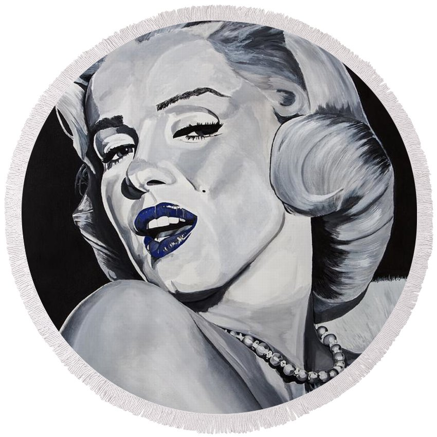 Marilyn Round Beach Towel featuring the painting Blue Marilyn by Brian Broadway