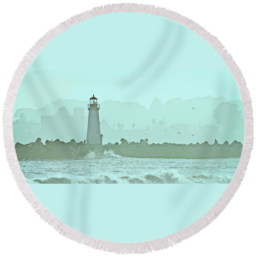 Blue Round Beach Towel featuring the photograph Blue Mist 3 by Marilyn Hunt