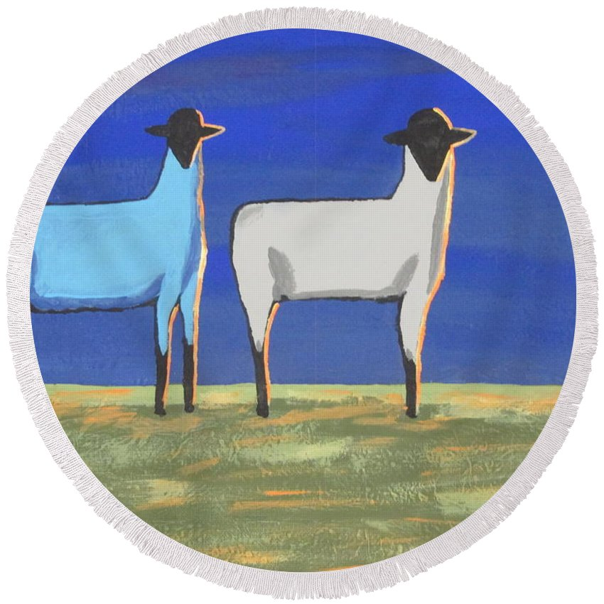 Mammal Round Beach Towel featuring the painting Blue Monday by Jeffrey Koss