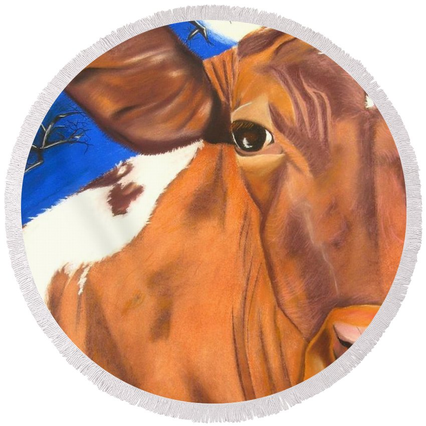 Cow Painting Round Beach Towel featuring the pastel Blue Moo by Michelle Hayden-Marsan