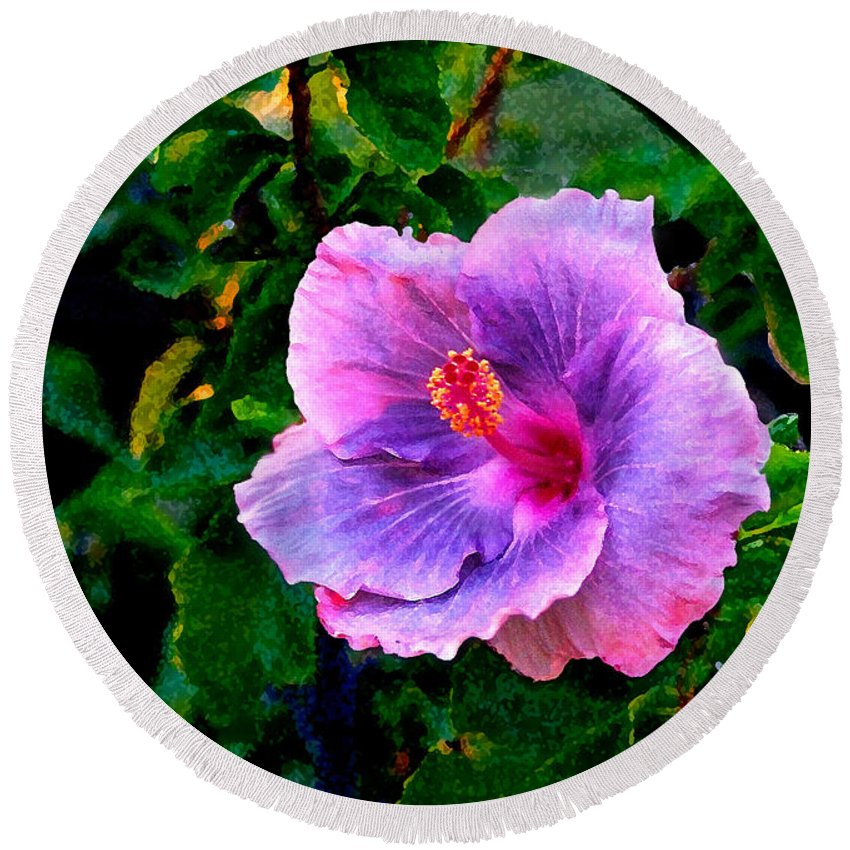 Flower Round Beach Towel featuring the photograph Blue Moon Hibiscus by Steve Karol