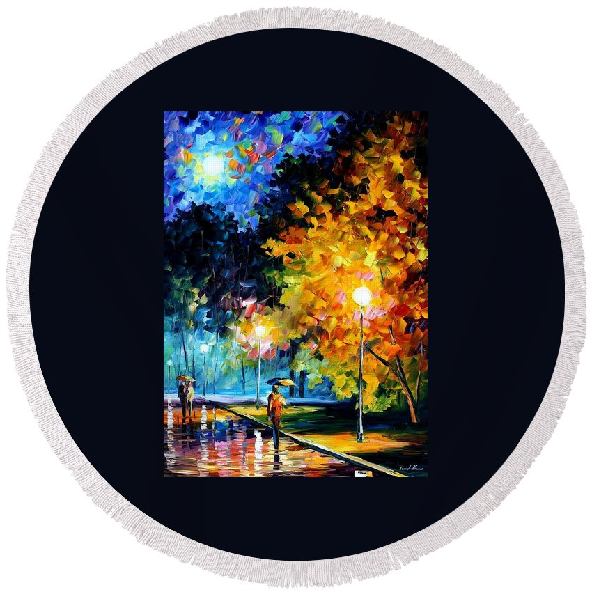 Afremov Round Beach Towel featuring the painting Blue Moon by Leonid Afremov