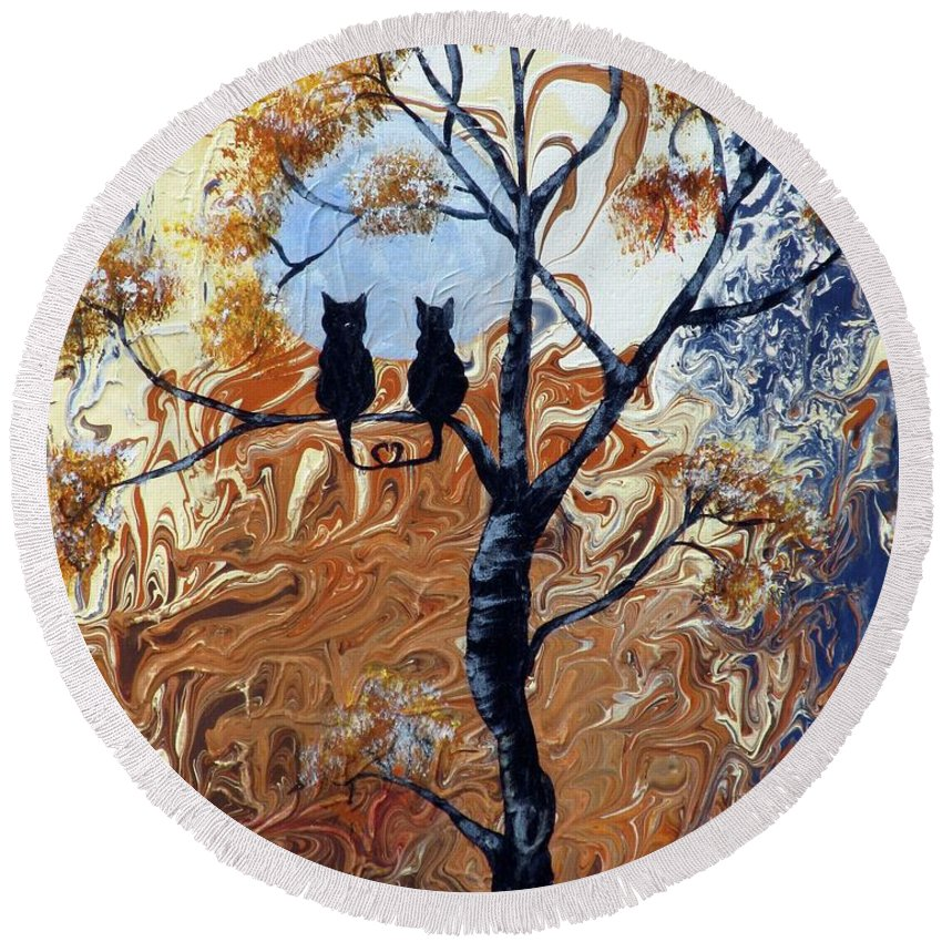 Mystical Round Beach Towel featuring the painting Blue Moon by Mikki Alhart