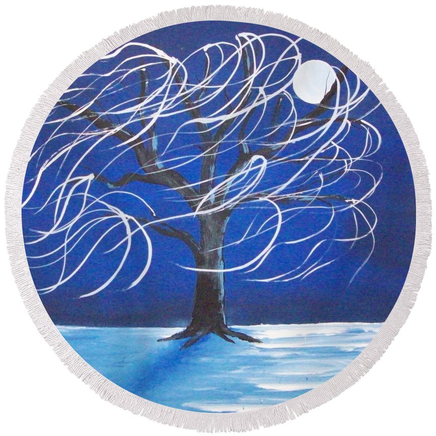 Folk Round Beach Towel featuring the painting Blue Moon Willow In The Wind by Susan Michutka