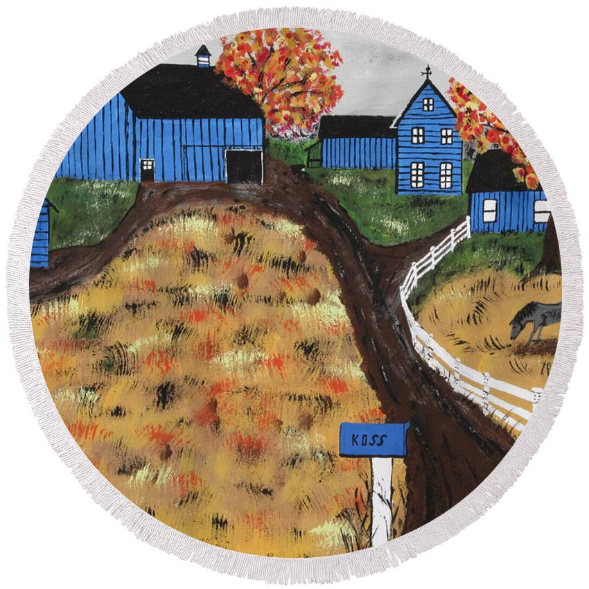 Blue Round Beach Towel featuring the painting Blue Mountain Farm by Jeffrey Koss