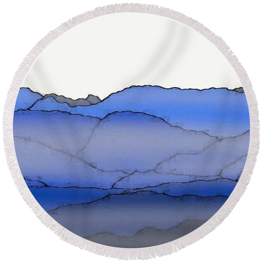 Blue Mountain Fog Round Beach Towel featuring the painting Blue Mountain Fog by Priscilla Wolfe