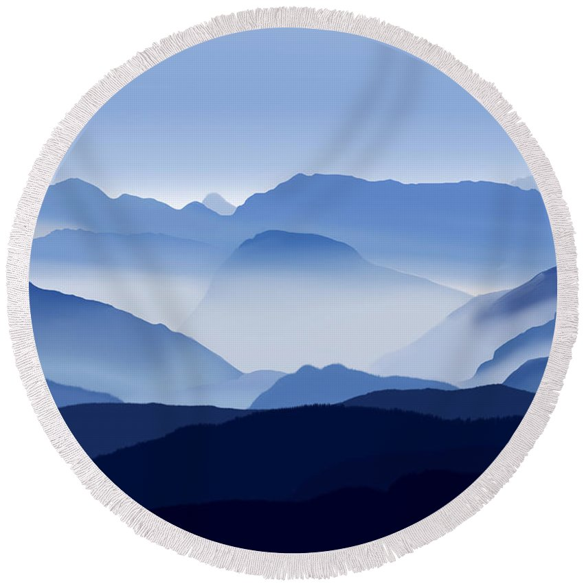 Landscapes Round Beach Towel featuring the digital art Misty Mountains by Todd Borders