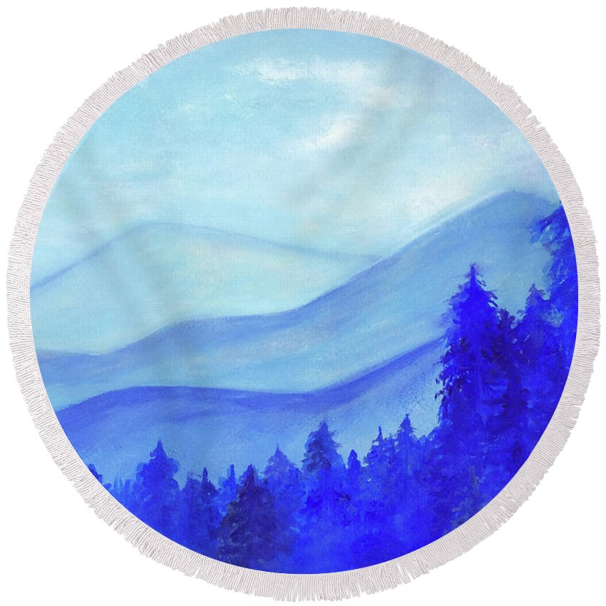 Blue Mountains Round Beach Towel featuring the painting Blue Mountains by Olga Mamaenko