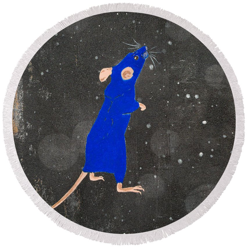 Mouse Round Beach Towel featuring the painting Blue Mouse by Stefanie Forck