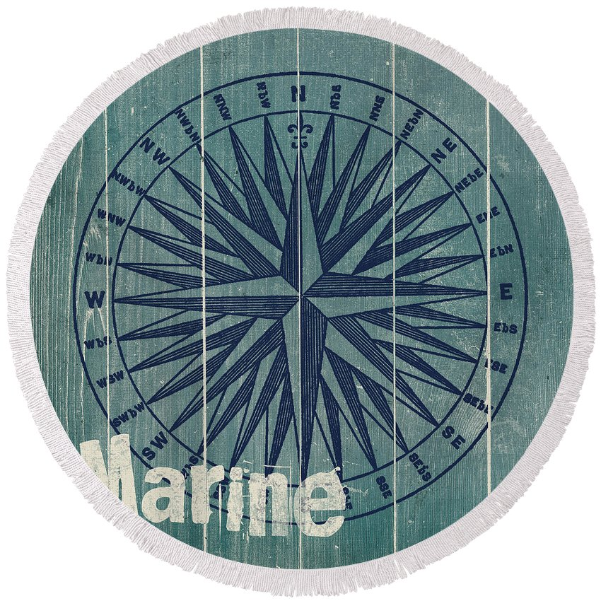 Nautical Round Beach Towel featuring the painting Blue Nautical-jp3616 by Jean Plout