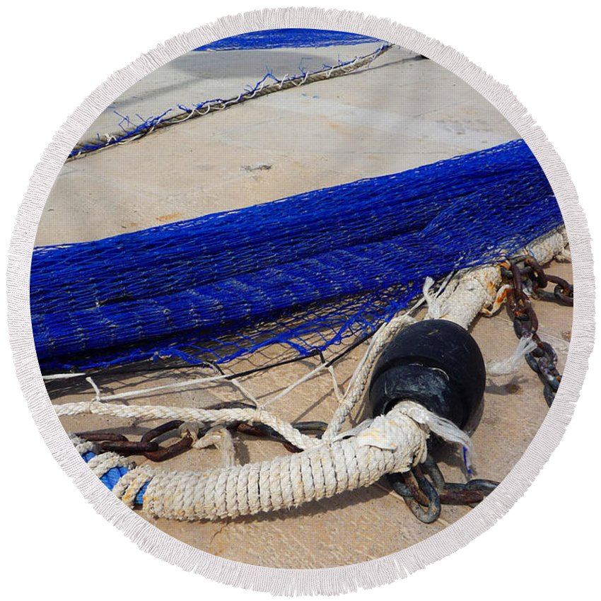 Fishing Net Round Beach Towel featuring the photograph Blue Net by Charles Stuart