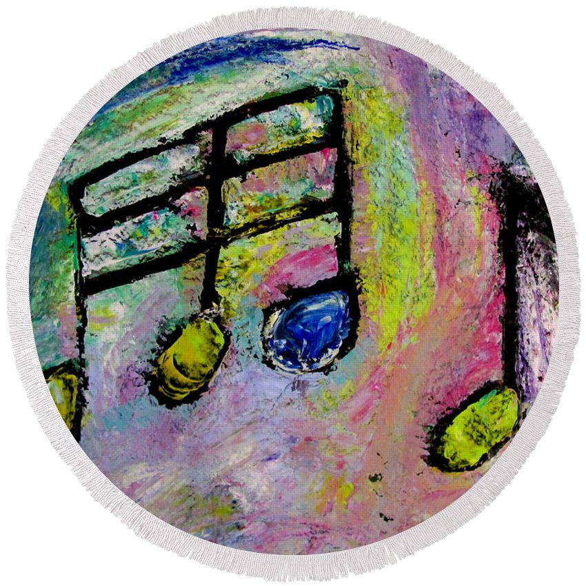 Impressionist Round Beach Towel featuring the painting Blue Note by Anita Burgermeister