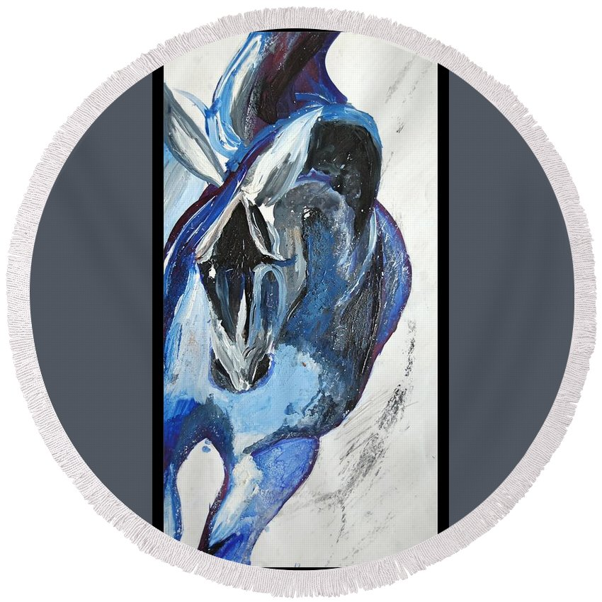 Horse Round Beach Towel featuring the painting Blue Olympic Horse by Rachel Taylor