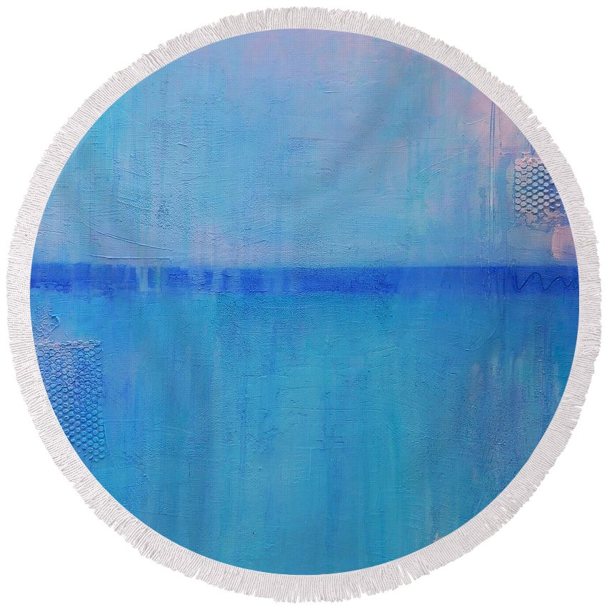 Abstract Round Beach Towel featuring the painting Blue On Blue by Kate Marion Lapierre