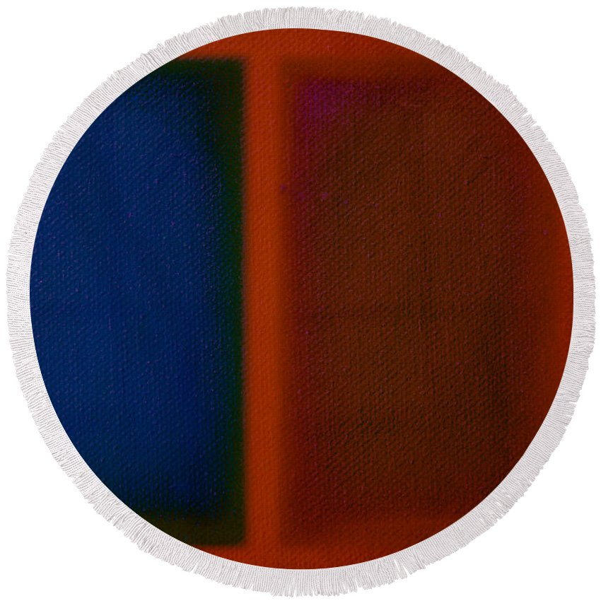 Rothko Round Beach Towel featuring the painting Blue On Orange by Charles Stuart