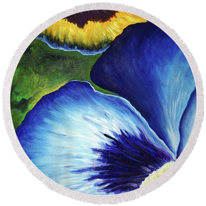 Pansy Round Beach Towel featuring the painting Blue Pansies by Nancy Mueller