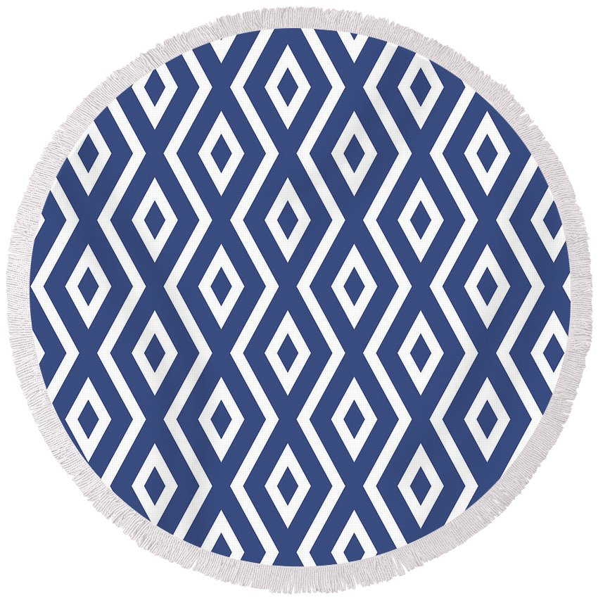 Blue And White Round Beach Towel featuring the mixed media Blue Pattern by Christina Rollo