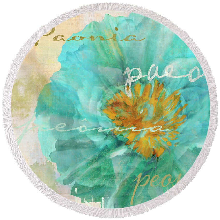 Peony Round Beach Towel featuring the painting Blue Peony by Mindy Sommers