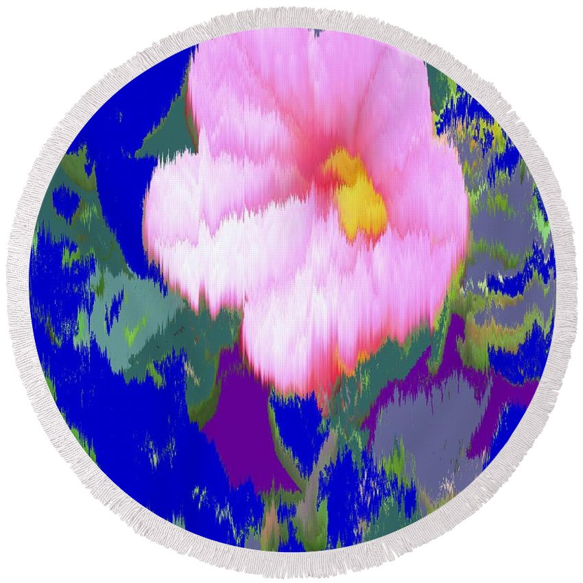Flower Round Beach Towel featuring the photograph Blue Pink by Ian MacDonald